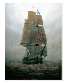 Poster  Sailing ship in the fog - Caspar David Friedrich