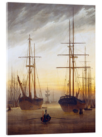 Vetro acrilico  View of a harbor - Caspar David Friedrich