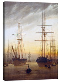 Tela  View of a harbor - Caspar David Friedrich
