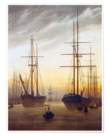 Poster  View of a harbor - Caspar David Friedrich