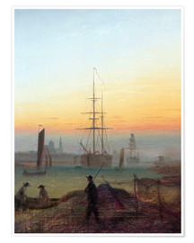 Poster  Harbour of Greifswald - Caspar David Friedrich