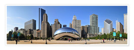 Poster Premium Panorama Millenium Park a Chicago con Cloud Gate