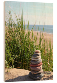 Stampa su legno  A Tower of Stones on a Dune at the Sea - Buellom