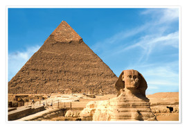 Poster  The Sphinx sits before the Great Pyramid of Khufu - Miva Stock