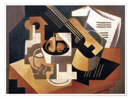 Poster Premium  Guitar and fruit bowl - Juan Gris