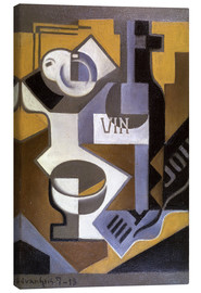 Stampa su tela  Still Life with Wine Bottle - Juan Gris