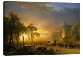 Stampa su tela  Wagon Train on the Prairie - Albert Bierstadt