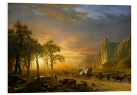 Stampa su schiuma dura  Wagon Train on the Prairie - Albert Bierstadt