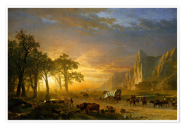 Poster Premium  Wagon Train on the Prairie - Albert Bierstadt