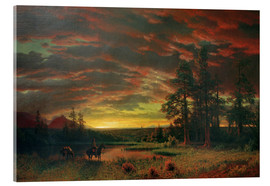 Stampa su vetro acrilico  Evening on the Prairie - Albert Bierstadt