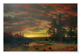 Poster Premium  Evening on the Prairie - Albert Bierstadt