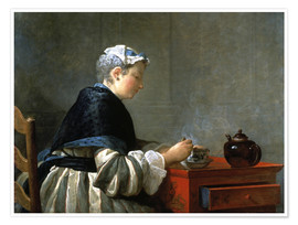 Poster Premium Woman drinking tea