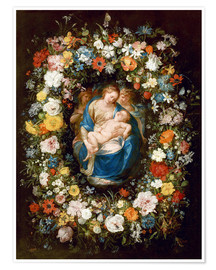 Poster Premium  Flowers wreath with virgin, child and two angels - Jan Brueghel d.Ä.