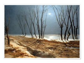 Poster Premium Landscape in Winter at Moonlight