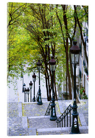 Vetro acrilico  Steps and lanterns lead to the Place du Sacre Coeur - Walter Bibikow