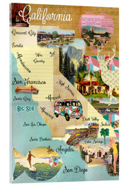 Stampa su vetro acrilico  Vintage California Map Collage Poster on wooden background - GreenNest