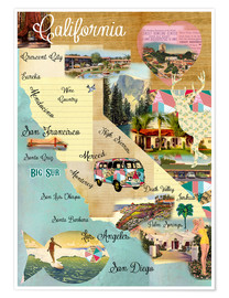 Poster Premium  Vintage California Map Collage Poster on wooden background - GreenNest