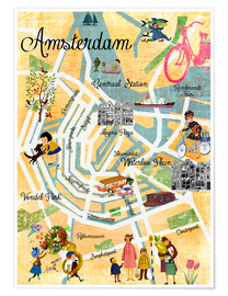 Poster Premium  Vintage Amsterdam Collage Poster - GreenNest