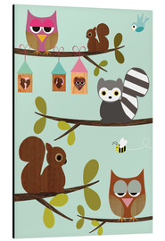 Stampa su alluminio  Happy Tree with cute animals - owls, squirrel, racoon - GreenNest