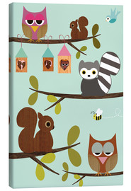Stampa su tela  Happy Tree with cute animals - owls, squirrel, racoon - GreenNest