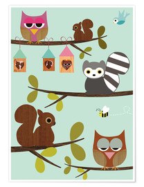 Poster Premium  Happy Tree with cute animals - owls, squirrel, racoon - GreenNest