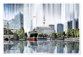 Poster  Hamburg Germany World Skyline - Städtecollagen