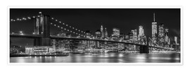 Poster Premium  New York City Night Skyline - Melanie Viola
