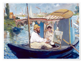 Poster Premium Monet painting on his studio boat