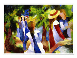 Poster Premium  Girls under trees - August Macke