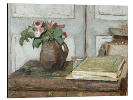 Stampa su alluminio  Still life with the artist painting set and a vase with moss roses - Edouard Vuillard