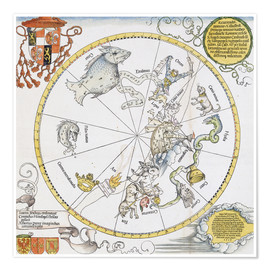 Poster Premium Map of the Southern Sky. 1515