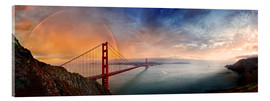 Stampa su vetro acrilico  San Francisco Golden Gate with rainbow - Michael Rucker