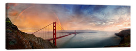 Stampa su tela  San Francisco Golden Gate with rainbow - Michael Rucker