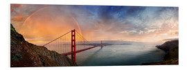 Stampa su schiuma dura  San Francisco Golden Gate with rainbow - Michael Rucker