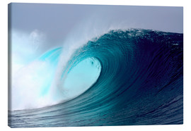Stampa su tela  Tropical blue surfing wave - Paul Kennedy