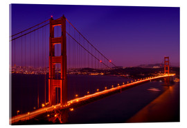 Stampa su vetro acrilico  Golden Gate Bridge by Night - Melanie Viola