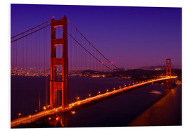 Stampa su schiuma dura  Golden Gate Bridge by Night - Melanie Viola