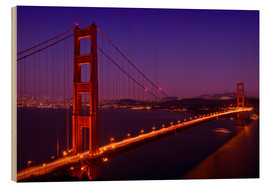 Stampa su legno  Golden Gate Bridge by Night - Melanie Viola