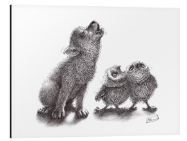 Stampa su alluminio  howling wolf meets howling owls - Stefan Kahlhammer