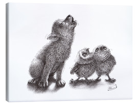 Stampa su tela  howling wolf meets howling owls - Stefan Kahlhammer