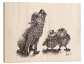 Stampa su legno  howling wolf meets howling owls - Stefan Kahlhammer