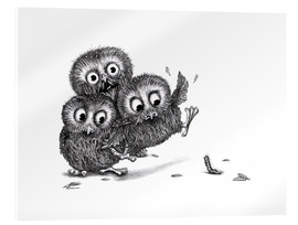Stampa su vetro acrilico  Help, three owls and a monster - Stefan Kahlhammer