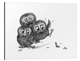 Stampa su alluminio  Help, three owls and a monster - Stefan Kahlhammer