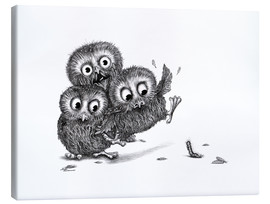 Stampa su tela  Help, three owls and a monster - Stefan Kahlhammer