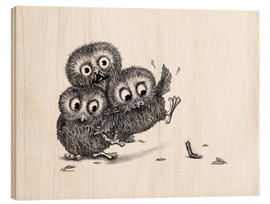Stampa su legno  Help, three owls and a monster - Stefan Kahlhammer