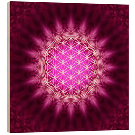 Stampa su legno  Flower of life - Symbol harmony and balance - red - Lava Lova