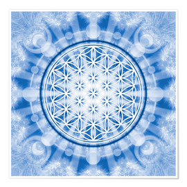 Poster Premium flower of life blue - symbol harmony and balance - blue