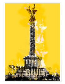 Poster Premium Berlin Victory Column (on Yellow)