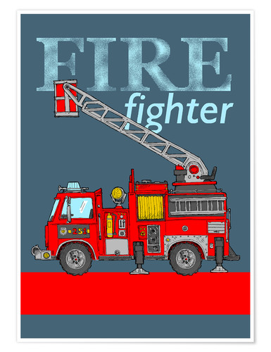Poster Premium fire fighter fire truck
