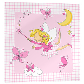 Stampa su vetro acrilico  flying fairy with butterflies on checkered background - Fluffy Feelings